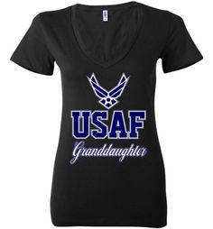 U.S. Air Force Granddaughter Women's Deep V-Neck T-Shirt