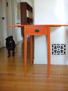 Vintage Modern Orange Drop-Leaf End Table Los Angeles by housecandyla, $250.00