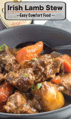 This Irish Lamb Stew recipe is made by slow cooking the lamb in a deep rich velvety broth. Mixed with rustic cuts of carrots and whole potatoes that make this one pot meal a complete comfort food!! #stpaddysdayfood #irishstew #comfortfood #braisedstew via @westviamidwest