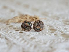 Dark paisley studs earrings wooden studs natural by MyPieceOfWood