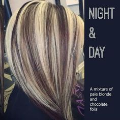 Pale blonde and chocolate brown#hair#love