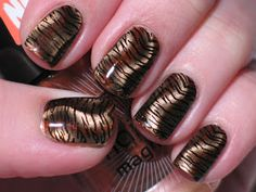 Lacquerish: Magnetic Tiger Mani Tutorial Stamp plate and instructions Nail Art Diy, Cool Nail Art, Diy Nails, Cute Nails, Pretty Nails, Tiger Nail Art, Tiger Nails, Garra, Magnetic Nail Polish