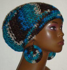 Crochet Beret/Small Tam and Earrings by Razonda Lee
