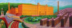 "David Hockney ""Salts Mill, Saltaire, Yorks"" 1997 Oil on 2 canvases. 48 x overall © David Hockney I have mentioned before ( see 1 J. Contemporary Artists, Modern Art, Pop Americano, David Hockney Paintings, Times Square, Pop Art Movement, Royal Academy Of Arts, Exhibition Poster, Neon"