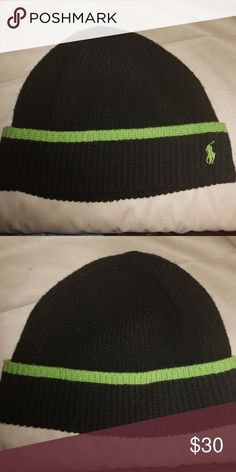 2161a6436f1 Black and neon green polo beanie Black wool polo beanie with cuff and neon  green stripe. Matches RLX vest in my closet Polo by Ralph Lauren  Accessories Hats