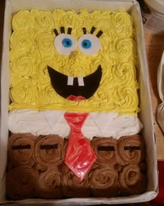 Cupcake Cake Designs, Cake Designs For Kids, Cupcake Cakes, Cupcake Ideas, Pull Apart Cupcake Cake, Pull Apart Cake, Kid Cupcakes, Birthday Cupcakes, Sponge Bob Cupcakes