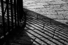 A Study of Light & Shadow - Railings and Pavings at Donaghadee Harbour, County Down, Northern Ireland – Fine Art Photography by Geoff McGrath
