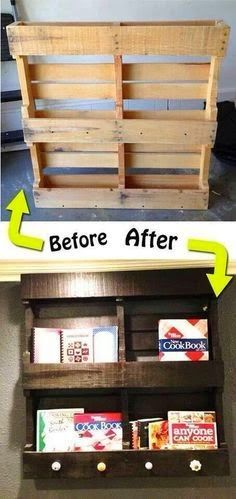 DIY Pallet bookshelf.  Lovely idea.