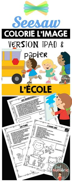 Coloriez l'image au IPAD avec Seesaw Core French, Ipad, French Resources, Future Jobs, French Immersion, School Subjects, Seesaw, Learn French, Comprehension
