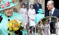express:  Easter Service, St. George's Chapel, Windsor, April 16, 2017-Montage of Queen Elizabeth, Duke of Edinburgh, Duke and Duchess of Cambridge, Princess Beatrice and Princess Eugenie