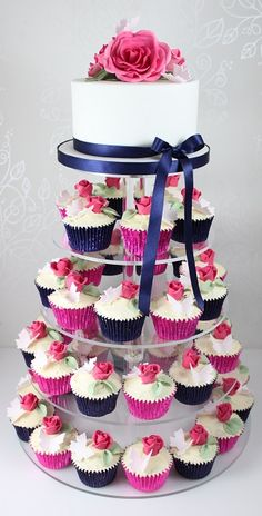 Wedding cupcakes and Big cake in navy and pink theme