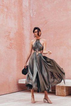 Aphrodite Grecian Dress - Gold Metallic