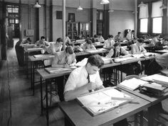 Mechanical Department - unidentified students in drafting. Downtown campus.