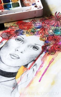 Interesting idea for portrait project! Collaboration or a mix of direction instruction (portraits) and experimentation (working into color blotches to make surreal-like hair. Watercolor Portraits, Watercolor Art, Watercolor Flowers, Pop Art Bilder, Alisa Burke, Illustrations, Illustration Kids, Art Classroom, Art Plastique