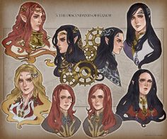 Maedhros, Curufin, Celebrimbor, Celegorm, Ambarussa and Caranthir