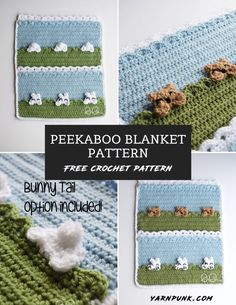 Peekaboo Crochet Blanket Pattern - Yarn Punk(R) Crochet Blanket Patterns, Crochet Blankets, Crochet Afghans, Baby Blankets, Crochet Bear, Free Crochet, Foundation Single Crochet, I Love This Yarn, Bunny Face
