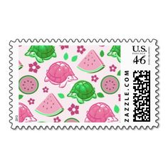 Watermelon Turtles Pattern Postage Stamps