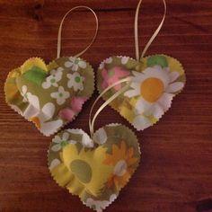 Vintage Fabric Heart Ornaments 1027-15 by UppityStuff on Etsy