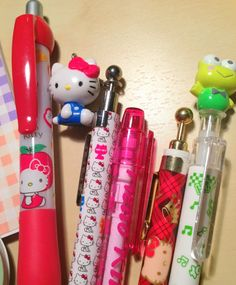 hello kitty pen colleciton FOR THOSE WHO KNOW ME KNOW I LOVE MY PENS HAHAHAHA