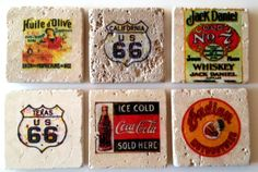 Vintage sign drink coasters. Handmade travertine tiles, sealed and padded underneath. $8 each or 4 for $30.