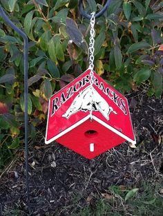 Arkansas Razorback License Plate Birdhouse by sturchr on Etsy, $15.95