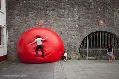 RedBall Project, Spanish Arch, Galway, Artist: Kurt Perschke Photographer: Martin and Martin #RedBallProject #Ireland