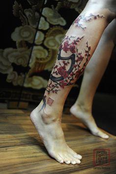 23 Cherry Blossom Tree tattoo on leg