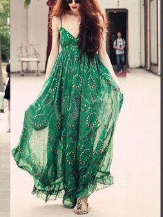 Army Green Chiffon Spaghetti Strap V Neck Print Peplum Shift Maxi Dress