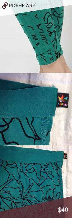 ADIDAS X PHARRELL WILLIAMS DEAR BAES teal LEGGINGS ADIDAS X PHARRELL WILLIAMS DEAR BAES ALL OVER PRINT LEGGINGS WOMEN SIZE MEDIUM TEAL/TURQUOISE & BLACK COLOR  THE WAISTBAND NEEDS SOME STITCHING ON THE BACK, PICTURED. OTHER THAN THAT THE LEGGINGS ARE IN GREAT LIGHTLY USED CONDITION adidas Pants Leggings