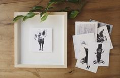These are a bunch of tiny lino and photocopy transfer prints, each on squares of Fabriano paper measuring approximately by by PencilheartArt. Music Illustration, Tiny Prints, Printmaking, Squares, Gallery Wall, Paper, Frame, Art, Picture Frame