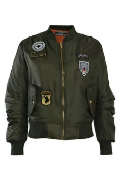 Badge Detail Bomber Jacket in Khaki Green