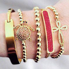 Set By Vila Veloni Red Turtle Bracelets