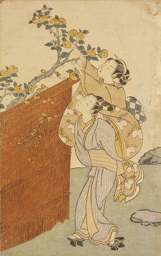 Suzuki Harunobu Japanese, 1724-1770 Picking persimmons (Kakitsumu), ca.1767