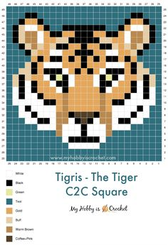 """I share this grid that I found to realized a tiger in """"my hobby is hook"""" Crochet Pixel, Crochet C2c Pattern, Cross Stitch Charts, Cross Stitch Designs, Cross Stitch Patterns, Diy Perler Beads, Perler Bead Art, Pixel Pattern, Pattern Art"""