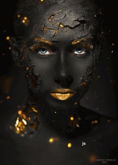 black and gold photography African Beauty, African Art, Kintsugi, Black Women Art, Face Art, Black Is Beautiful, Simply Beautiful, Makeup Art, Body Painting