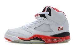 com for nikes OFF - Air Jordan 5 Retro White Fire Red Black Men's Sneakers Jordan Shoes For Men, Michael Jordan Shoes, Air Jordan Shoes, Nike Shox Shoes, New Jordans Shoes, Air Jordans, Air Jordan 5 Retro, Nike Air Jordan Retro, Sneakers For Sale
