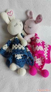 Cute Free Crochet Patterns - P Crochet Lovey, Crochet Baby Toys, Crochet Gratis, Crochet Bunny, Crochet Animals, Baby Blanket Crochet, Crochet For Kids, Baby Knitting, Free Crochet