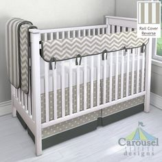 Crib bedding in Taupe Zig Zag, Taupe Stripe, Solid Slate Gray, Solid Silver Gray, Taupe and White Polka Dot, Solid Antique White. Created using the Nursery Designer® by Carousel Designs where you mix and match from hundreds of fabrics to create your own unique baby bedding. #carouseldesigns