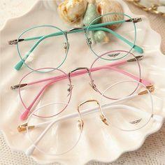 Vintage Candy Color Round Glasses from Fashion Kawaii [Japan & Korea] Cute Glasses Frames, Vintage Glasses Frames, Womens Glasses Frames, Mode Lookbook, Glasses Trends, Lunette Style, Jugend Mode Outfits, Mode Kawaii, Cute Sunglasses