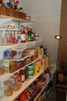 Mike and I did this in our pantry in our old house in Indianola. We could then walk into the pantry, and had all of our canned goods, and boxed goods on the shelves we hung on the wall. Worked out great.