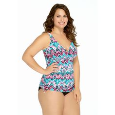 be984181c9 Christina Swim Plus Size Desert Praise D-Cup Tankini Top Multi Color One  Piece Suit