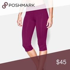 """NEW•Under Armour capri The """"city hopper pant"""", gorgeous raspberry color! (Color most like 3rd photo), inseam 17""""... UA StudioLux® fabric for relentless support with a super-soft luxurious feel, wicks sweat to keep you dry, Lightweight, 4-way stretch construction improves mobility & maintains shape, Wide, flat waistband with a rise that sits just right on your hips, Advanced seam placement to show off your curves Hidden waist pocket to stash your stuff Straight leg construction with bonded…"""