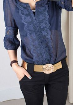 Vintage Sheer Navy blouse with matching lace.Blouse with lace detail- choose your fabric and custom make it atlace top with casual bottomDon't know if i like the puff on the sleeves or the see-through aspect, but the front detail looks lovely. Moda Casual, Casual Chic, Blouse Styles, Blouse Designs, Mode Outfits, Casual Outfits, Look Fashion, Womens Fashion, Fashion Trends