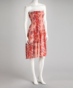 Take a look at this Tropical Peach Flower Dress by BOLD & BEAUTIFUL on #zulily today!