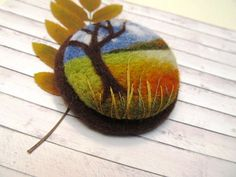 Autumn jewelry Needle felted brooch Autumn by FeltAccessories