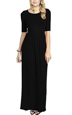23f064b6e682 Amazon.com  Meaneor Women s Women s Celebrity 3 4 Sleeves Flared Swing  Stretchy Long Maxi Dress Black XL  Clothing