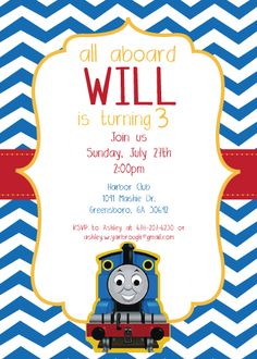 Printable Thomas the Train, chevron birthday invitations- If you have trouble finding this listing, feel free to email me directly at princesalana@aol.com for more info.