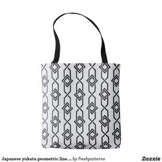 Japanese yukata geometric line pattern in grey tote bag