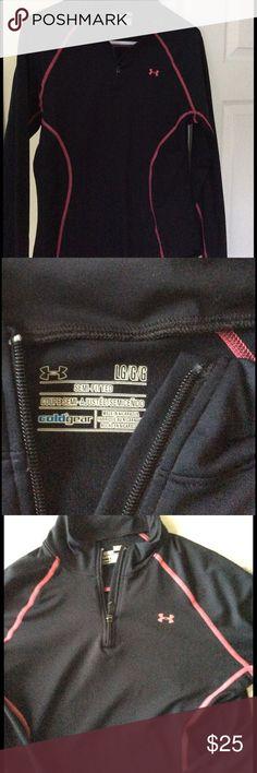UA Half-Zip Pullover Half-zip pullover, black with hot pink piping. Under Armour Tops Sweatshirts & Hoodies