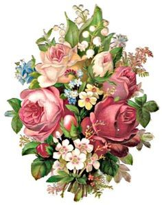 Scraps - Victorian Die Cut - Victorian Scrap - Tube Victorienne - Glansbilleder - Plaatjes: bouquet of roses and other flowers
